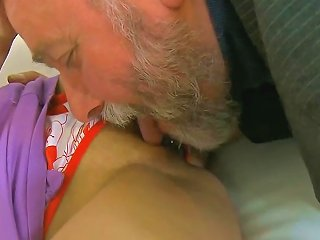 Very Cute Teen Is On Gramps Cock Riding It